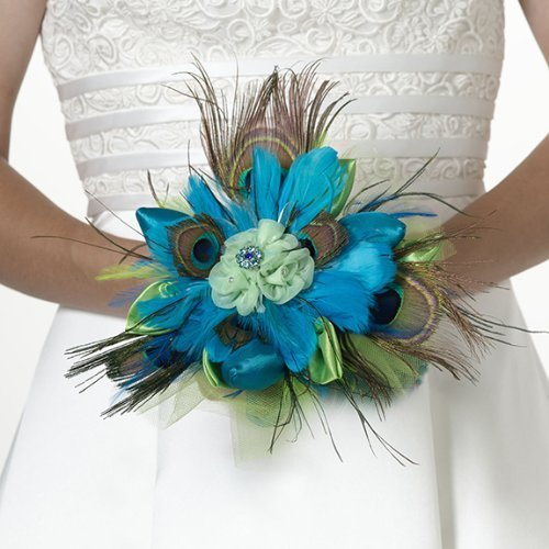 Lillian Rose Peacock Feather Bouquet, 9-Inch by Lillian Rose