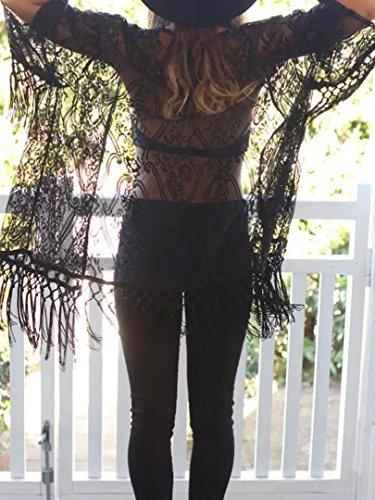 Choies Women's Crochet Lace Fringe Open Front Bating Sleeve Kimono S (Black)