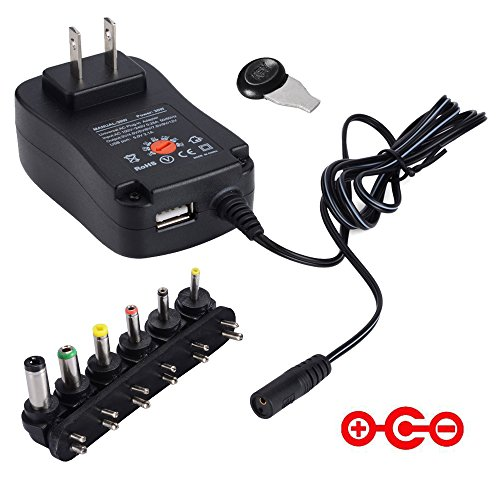 [Negative Version] CUGLB Universal 30W 3V-12V Regulated Multi Voltage Replacement AC to DC Adapter Switching Power Adapter with 5V2A USB Port And Six Adapter Plugs (Positive Negative Adapter compare prices)