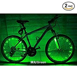 Soondar 2 Pack Uprated USB Powered Rechargeable Water Resistant Cool 20 LED Bicycle Bike Cycling Wheel Light Safety Light Spoke Light Lamp Lightweight Accessory - Red Blue White Green Pink Multicolor Green