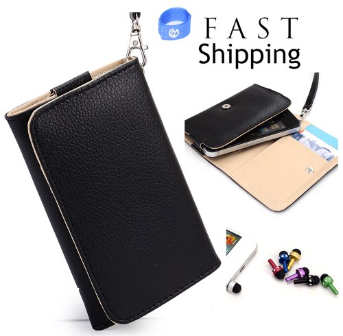 Lg Connect 4G Mobile Phone Wallet Black Clutch Carrying Cover Case Pouch With Bonus Mini Stylus Earphone Plug (Color & Style May Vary) + Envydeal Velcro Cable Tie