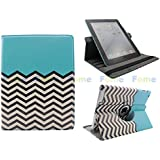 FOME 360 Degrees Rotating Stand PU Leather Flip Case Cover for iPad 2 3 4 (blue/wave pattern) + A FOME Gift