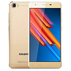 HAWEEL H1 Pro, 5.0 inch 4G FDD LTE Android 6.0 Smartphones with 1GB/8GB + 5MP Camera WIFI Bluetooth 1.2GHz Quad Core Dual SIM Dual Camera with USB Cable(Power Adapter Not Included), Gold