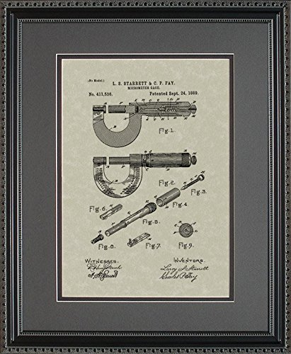 Micrometer Patent Art Wall Hanging   Engineer Machinist Framed Gift 11x14 (Engineer Wall Art compare prices)