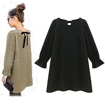 vogueeasy strickkleid damen langarm kurz a linie kleider pullover strickpullover sweatshirt f r. Black Bedroom Furniture Sets. Home Design Ideas