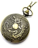 Conbays Antique Fiery Dragon Fire Quartz Pocket Watch Necklace Pendant Men Gift