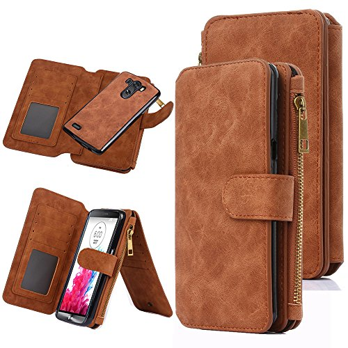 LG G3 Case, CaseUp 12 Card Slot Series - [Zipper Cash Storage] Premium Flip PU Leather Wallet Case Cover With Detachable Magnetic Hard Case For LG G3, Brown (Wallet For Lg G3 compare prices)