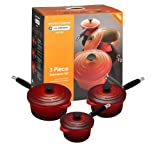 Le Creuset Cast Iron Saucepan Set, Cerise, 3 Piece