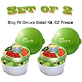 Stay Fit Deluxe Salad Kit, EZ Freeze - Green & White - 2 Salad Kits