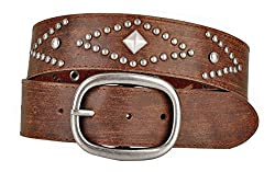 Womens Brown Leather Belt with Round and Pyramid Metal Studs (M)