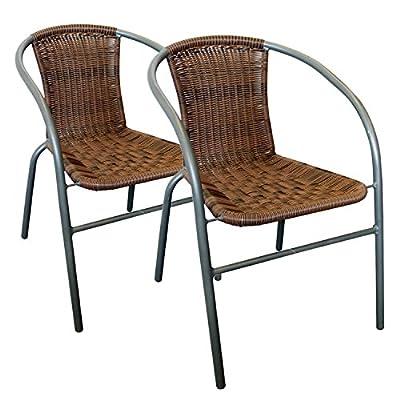 2 Stück Rattan Bistrostuhl stapelbar Polyrattanbespannung in Cappuccino - Stapelstuhl Gartenstuhl Balkonstuhl von Multistore 2002 bei Gartenmöbel von Du und Dein Garten