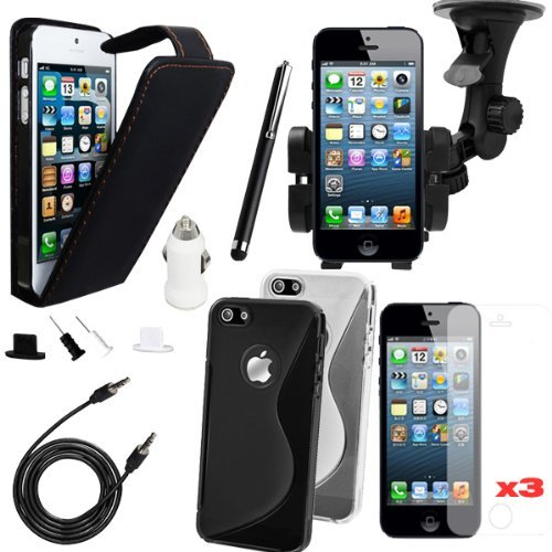 Poposh 12 in 1 Set Accessory Bundle Kit for iPhone 5 5G Slim Black Flip Leather Case Cover Pouch - Black White S-line TPU Bumper Gel Silikon Back Cover - Touch Pen Stylus + USB Car Charger Adapter + Windshield Car Stand Stander Mount Holder Suction Cradle - 3.5mm M/M AUX Auxiliary Car Stereo Audio Cable Cord - Anti Dust Proof Ear Cap Plug - Screen Protector
