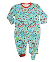 Zutano Baby-Girls Infant Penny Lane Footie, Aqua, 6 Months