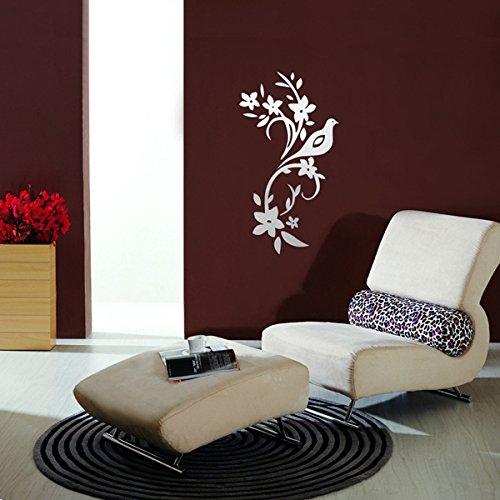 Bluelover 3D pace piccione fiori d'oliva rami acrilico specchio parete Sticker Home Decor