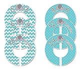 #C198 Aqua Elephant Boy Baby Closet Dividers Clothes Organizers Set of 6