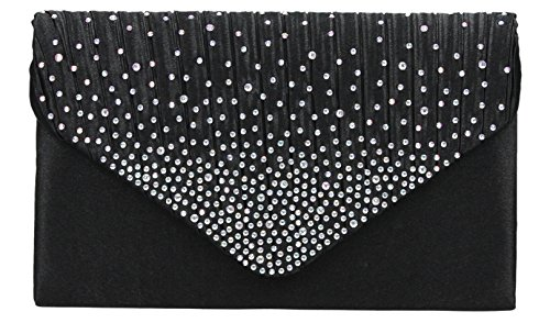 Abby Diamante Envelope style Clutch Bag in Black--