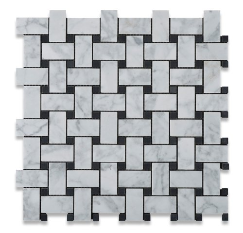 Carrara White Basketweave Polished Mosaic Tiles with Black Dots