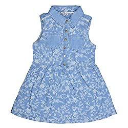 CoffeeBean Kids Girls printed Denim Dress (5-6 Years)