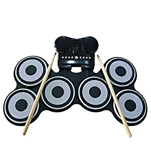 sadotech portable foldable electronic musical drum set six pads for bass drum. Black Bedroom Furniture Sets. Home Design Ideas