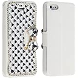 Bling Diamonds Silk Leather Wallet Card Cover Case for Apple Iphone 5C