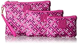 Tommy Hilfiger Sport Nylon Three Set Pouch, Rose Multi, One Size