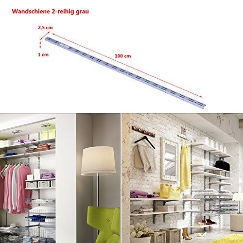 Regalsystem Wandschiene Wandleiste 1 und 2-reihig Stahl Haushaltsregal Metallregal Schraubregal grau 2-reihig-100cm