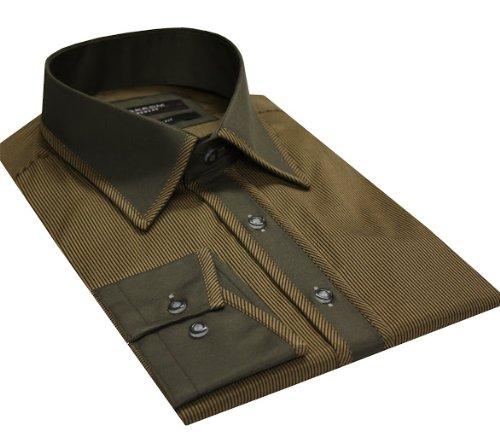 Italian Design Men's High Collar Formal Casual Shirt Contrast Collar Brown