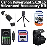 Advanced Accessory Kit For Canon PowerShot SX20IS SX20 IS 12.1MP Digital Camera Includes 8GB High Speed SD Memory card + USB 2.0 High Speed Card Reader + 4 AA High Capacity Rechargeable NIMH Batteries And AC/DC Rapid Charger + Deluxe Case + LCD Screen P ~ ButterflyPhoto