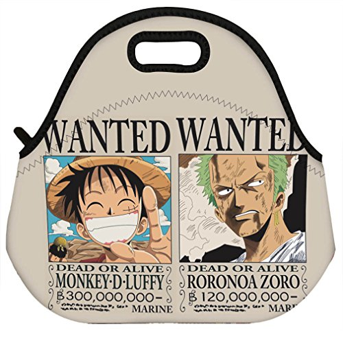 Neoprene Insulated Lunch Bag Anime One Piece Luffy Zoro Wanted Lunch Boxes Tote (Lady Zoro)