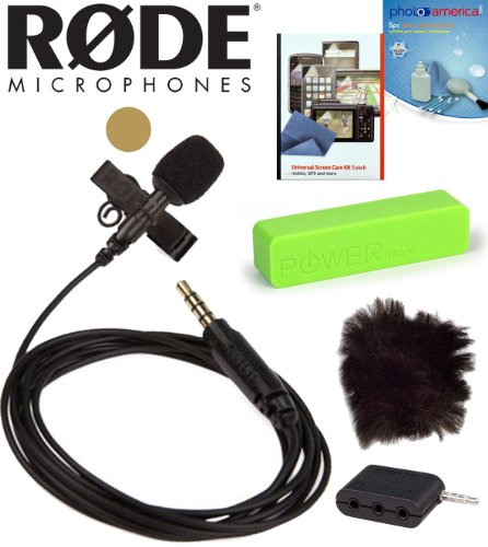Rode Smartlav Lavalier Microphone For Iphone And Smartphones W/ Rode Minifur-Lav Artificial Fur Wind Shield For Lavalier Microphone