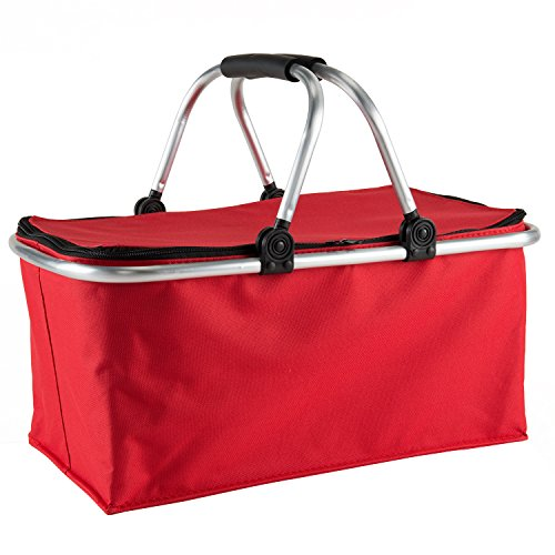 Picnic-Basket-Collapsible-Market-Baskets-Cooler-Zip-Closure-Shopping-Basket-with-Carrying-Handles-for-BBQCampingPicnics-Red