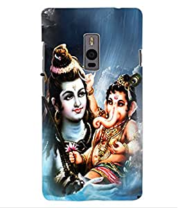 ColourCraft Lord Shiva With Ganesha Design Back Case Cover for ONEPLUS TWO