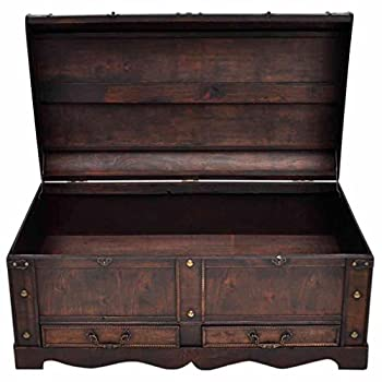 Large Wood Treasure Storage w/ Drawer Blanket Steamer Chest Vintage Coffee Table
