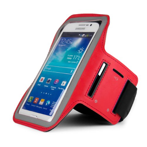 Sumaclife Hybrid Sports Armband W/ Key Slot For Htc One E8 / One Max // One M8 / Butterfly S / Desire 816 / Desire 610 (Red)