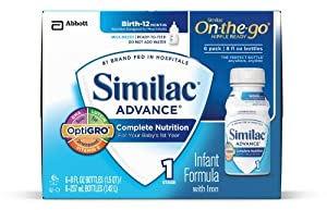Similac Advance Infant Formula with Iron, Stage 1 Ready-to-Feed Bottles, 8 Ounce, (Pack of 24) (Packaging May Vary)