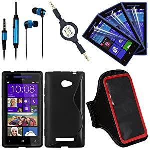 Hot sell product combination set for HTC Windows Phone 8X from Skque®include: Anti Scratch Screen Protectors(3 pieces) + S Shape Gel TPU Back Case + Universal 3.5mm In Ear Stereo Earbud Headset + 3.5mm Retractable Auxiliary AUX Cable + Red Universal Neoprene Armband