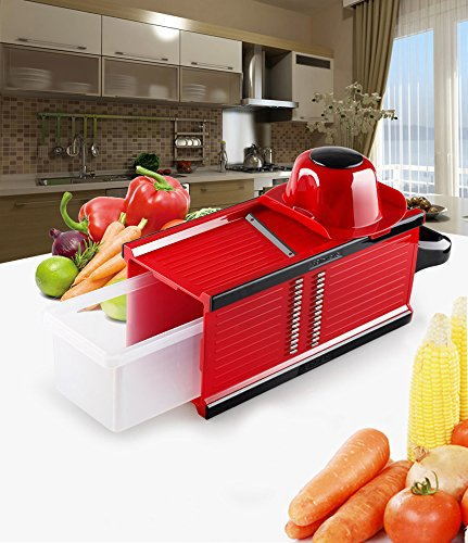 SUMCOO Kitchen Tools Set,Food And Vegetables Mandoline Slicer With Blades For Fruit And Cheese Cutter, Carrot Grater, Onion Chopper, Julienne Peeler with Safety Hat And Container (4 in 1 Red) (Mandolin Slicer Set compare prices)