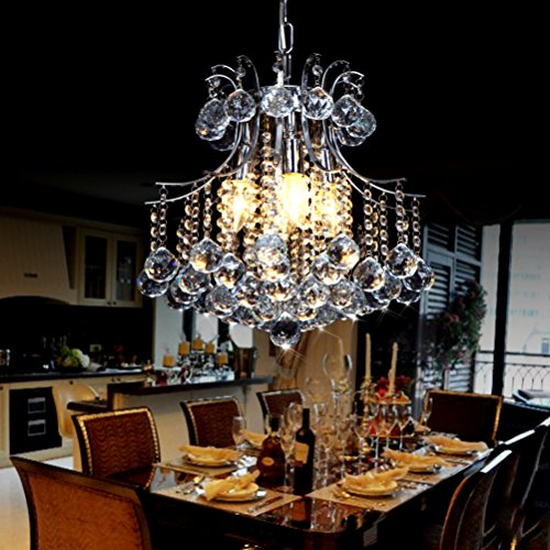 Vintage Crystal Chandelier 4 lights fixture with metal long chain of Ella Fashion 0
