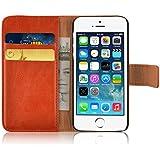 JAMMYLIZARD | Ledertasche Retro Wallet Hülle für iPhone 5 und 5S, ORANGE