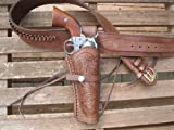 Brown Leather .22 Caliber Gun Belt and Right Handed Tooled Holster Combination