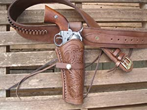 Brown Leather .22 Caliber Gun Belt and Right Handed Tooled Holster Combination by Western Express