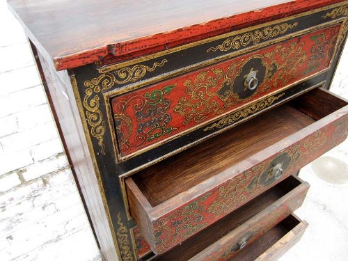 Hot China half-height drawers dresser credenza sideboard red-brown pine