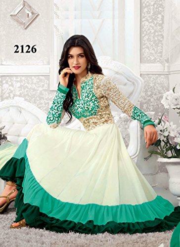 New Heavy Kriti Sanon White & Teal Long Length Traditional Anarkali Suits- Free Size (FBA172-2126)
