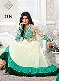 New Heavy Kriti Sanon White & Teal Long Length Designer Anarkali Suits- Free Size