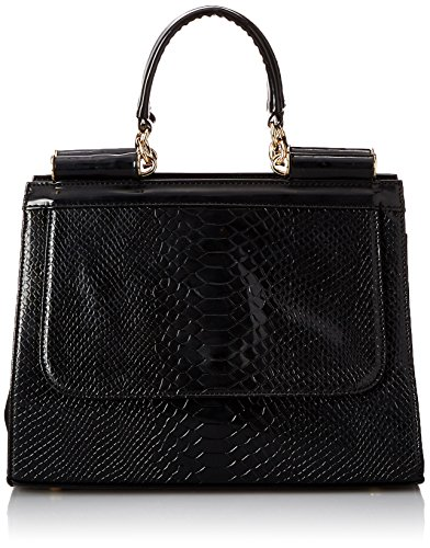 MG Collection Eilis High Gloss Crocodile Doctor Style Office Tote, Black, One Size