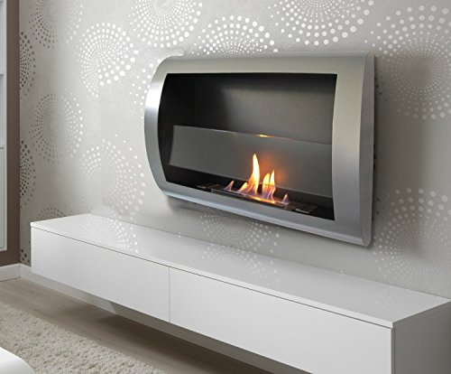 Charleston Treat Grey Metal Wall Mount Ventless Bio Ethanol Fireplace with Burner Insert 100% Satisfaction Guaranteed