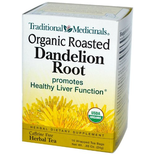 Traditional Medicinals Tea - Organic Roasted Dandelion Root, Naturally Caffeine Free ,16 Tea Bags (Pack Of 4)