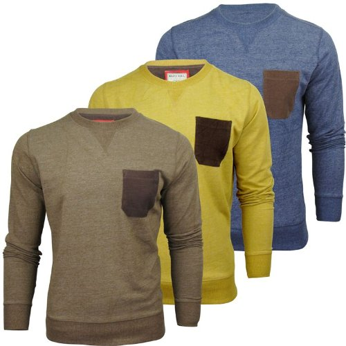 Mens Brave Soul 'Spectrum' Crew Neck Jumper/ Sweater Cord Patch Pocket