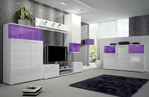 Moderne-2-tlg-TV-Wohnwand-Luis-inkl-Sideboard-in-wei-hochglanz-Beleuchtete-LED-Schrank-Wand-Vitrine-mit-16-Farbvarianten-aus-stabilem-MDF-Holz-Der-Blickfang-in-jedem-Wohnzimmer