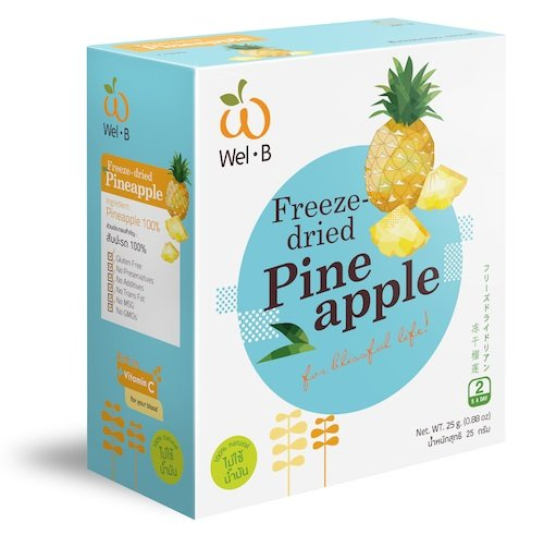 Wel-B Freeze-Dried Pineapple, Freeze-Dried Fruit Snack Unsweetened And 0% Fat, Real Healthy Snack 25G. front-507486